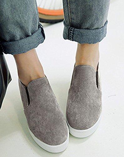 Femme Gris Sneakers Mode Basse Rond Aisun Bout RnFdqwPxRz