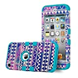 iPod Touch 6 Case,iPod 6 Cases,6th Case,ULAK [ Colorful Series ] Hybrid Case for Apple iPod Touch 5 6th Gen Hard Pattern with Silicon Cover_2015 Released (Reverie/Blue)