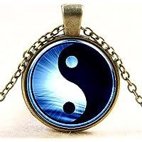 Lemonc Yin and Yang tai chi time ruby pendant necklace