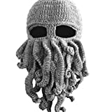 Dealzip Inc® Fashion Light Grey Octopus Cthulhu Shape Knitting Wool Ski Wind Warm Mask Stubble Beard Beanie Hat Cap+Random gift