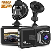 "T-mars Dash Cam in car Dashboard Camera Driving Recorder HD 1080P Wide Angle 3.0"" TFT Display LCD with G-Sensor Loop Recording Motion Detection"