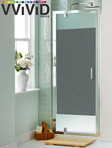 Frosted Gray Matte Privacy Window Vinyl Film Decorative Decal for Bathroom, Kitchen, (Gray Vinyl Glass)