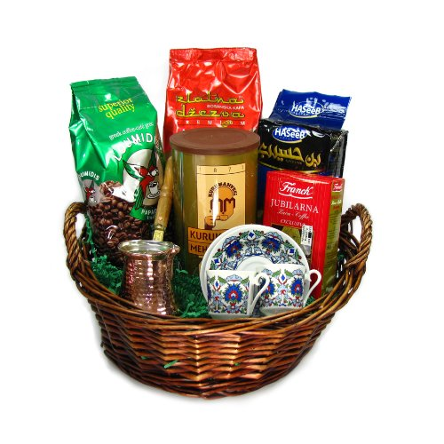 Turkish Coffee World Turkish Coffee Sampler Basket with A Set for Two by Turkish Coffee World