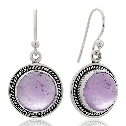 Moonstone Ring Amethyst - 925 Sterling Silver Purple Amethyst Gemstone Rope Edge Round Dangle Hook Earrings 1.2