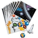 10 x Weltraum Aufkleber Space Weltall Shuttle Sterne Planeten Kindergeburtstag Mitgebsel Giveaway Haftspiel