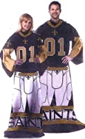 NFL Football New Orleans Saints Comfy Throw ~ Blanket with Sleeves - Large Unisex Adult Size