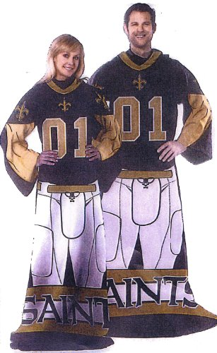 Nfl Comfy Feet - NFL Football New Orleans Saints Comfy Throw ~ Blanket with Sleeves - Large Unisex Adult Size
