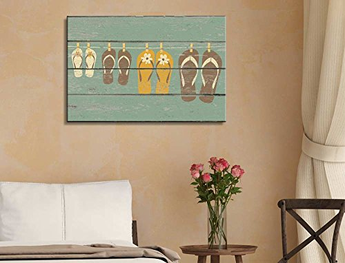 Sandles with a Rustic Wooden Background Wall Decor