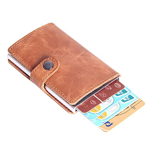 TJEtrade Men's Genuine Leather Money Clip Automatic Pop-up Card Case Wallet RFID by TJEtrade