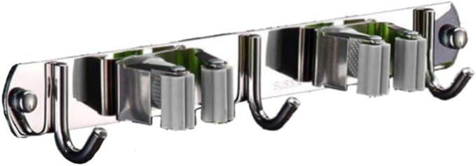 304 Acero Inoxidable Colgador de escobas soporte fregonas sujeta cepillo 2 Posiciones y 3 Ganchos MINGZE Soporte para escoba y fregona montaje en pared Instalaci/ón de Tornillos y autoadhesivo