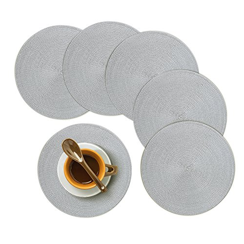 Homcomoda Round Placemats, Insulation Braided Edge Round Table Mats for Dining/Kitchen Table Placemats Set of 6, 15″ Gray