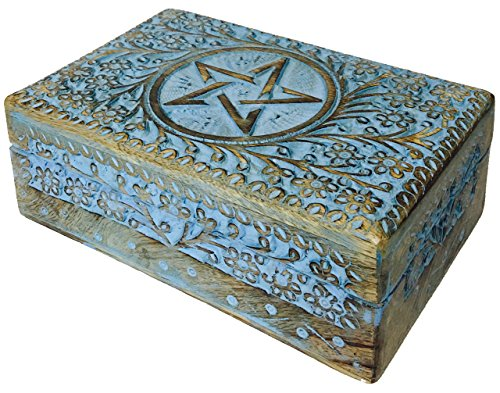 (vrinda Wooden Hand Carved Pentacle Box 8 inch x 5 inch.)