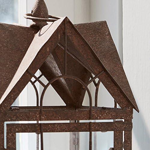 Loberon Laterne Manor House, Eisen/Glaseinsätze, H/B/T ca. 35/19 / 19 cm, antikbraun