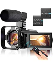 "Video Camera Camcorder YouTube Vlogging Camera FHD 1080P 30FPS 24MP 16X Digital Zoom 3"" LCD 270 Degrees Rotatable LCD Digital Camera Recorder with Microphone,2.4G Remote Control,2 Batteries"