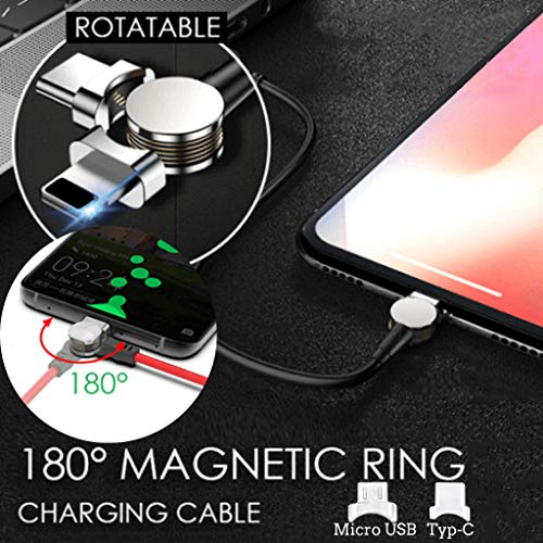CMrtew for Micro USB Type-C 180° Portable Magnetic Ring Quick Charging Cable High Efficiency Mini Data Cable (A)