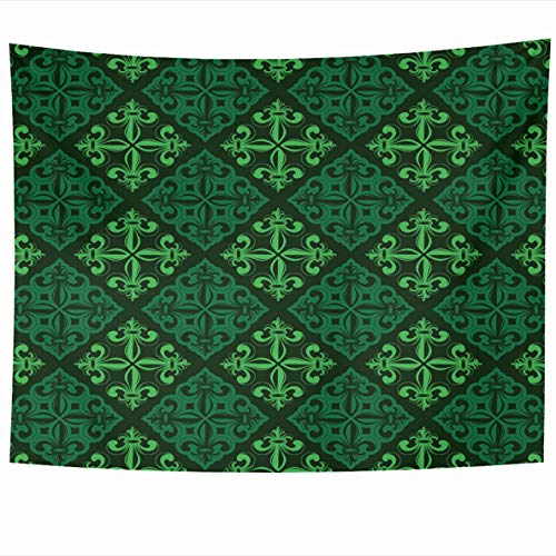 Ahawoso Tapestries 60 x 50 Inches Lis Abstract Green Lily Fleur De Floral Billboard Broadsheet Emblem LYS Flora Design Home Decor Tapestry Wall Hanging for Living Room Bedroom Dorm