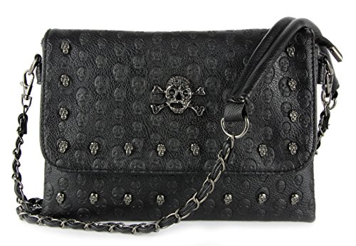 Skull Gothic Bag (Women Black Punk Skull Rivets Flap Cross Body Bags with Chain Strap)