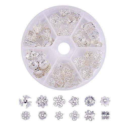 (FidgetKute 1 Box Brass Bead Caps Multi-Petal Caps Silver Jewelry Findings Earrings Findings)