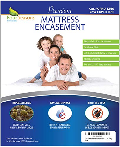 California King Mattress Protector Bedbug Waterproof Zippered Encasement Hypoallergenic Premium Quality Cover Protects Against Dust Mites Allergens