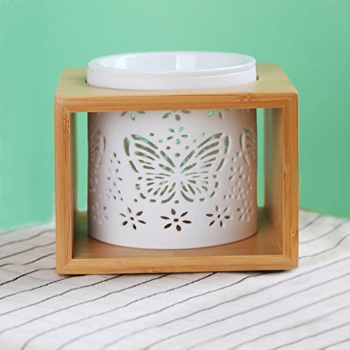 Singeek Wood Incense Tart Tealight Essential Oil Burner Diffuser,Hollowing Floral Ceramic Wax Warmer Lamp, Holiday Home Decoration Valentine Christmas Gift (Butterfly White)