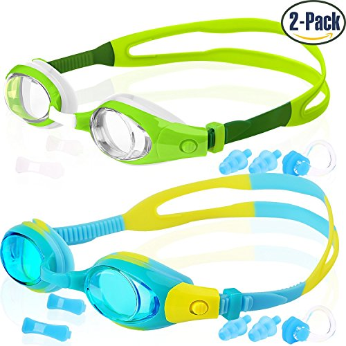 Correct Eye - COOLOO Kids Swim Goggles, Pack of 2, Swimming Glasses for Children and Early Teens from 3 to 15 Years Old, Anti-Fog, Waterproof, UV Protection, Made
