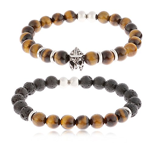 YILIBAO 8mm Tiger Eye Stone Lava Rock Bracelet Essential Oil Diffuser Yoga Beads, Stainless Steel Jewelry, Key Product Features: (Spartan -