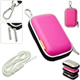 New first2savvv outdoor heavy duty pink camera case for Sony DSC-W800 with white camera hand strap