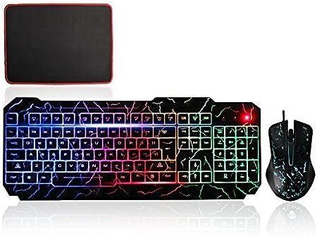 MFTEK conexión de cable USB del arco iris LED retroiluminada de teclado para juegos y DPI ajustable Conjunto de ratón