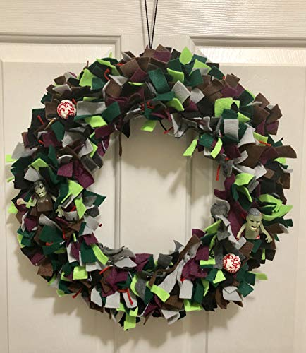 Felt & Ribbon Glow in the Dark Zombies and Squishy Brains Halloween Wreath - Fall Wreath - Zombies Gift - Halloween Party -