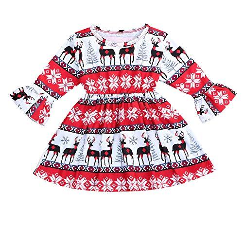 Xmas gift Toddler Baby Girls Christmas Dress Kid Baby Girls Ruffle Long Sleeve Tops Baby Girl Skirt Outfit (Kid Baby Deer Ruffle Long Dress, 3-4 T) ()