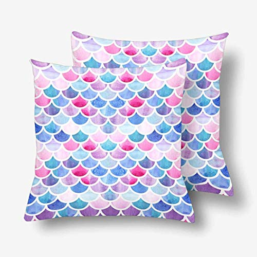 - SPXUBZ Mermaid Scale Watercolor Fish Scales Pillow Cover Home Decor Nice Gift Square Indoor Pillowcase Set of 2 (Two Sides)