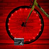 Super Cool Red LED Bike Wheel Lights Set - Get Bright Bicycle Rims & Spokes - More Visibility Than Just Front and Back Lighting - Fast Easy Install - Batteries Included - 100%