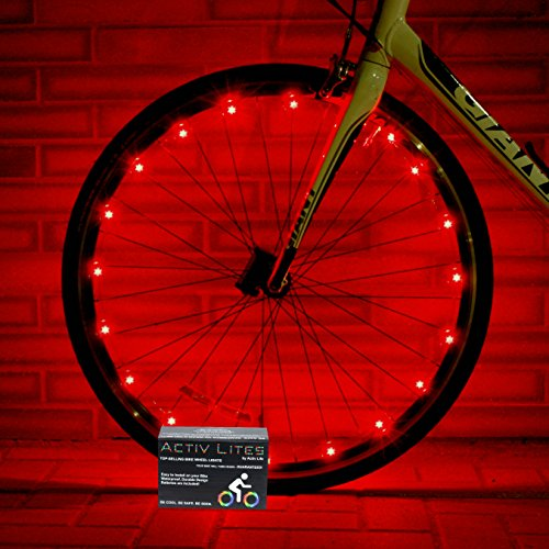 Super Cool Red LED Bike Wheel Lights Set - Get Bright Bicycle Rims & Spokes - More Visibility Than Just Front and Back Lighting - Fast Easy Install - Batteries Included - 100% (Bike Wheel Size)