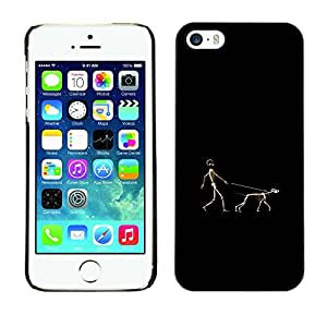 Exotic-Star ( Funny Human & Dog Walk ) Fundas Cover Cubre Hard Case Cover para Apple iPhone 5 / 5S
