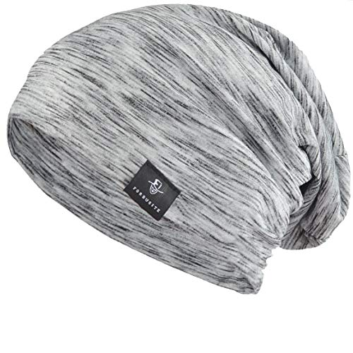 FORBUSITE Unisex Striped Thin Baggy Summer Beanie Cap Hat B079 (Light Gray with Black)