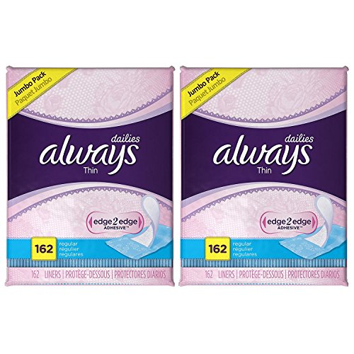 Always Thin Dailies Wrapped Liners, Unscented, 162 Count (2-Pack)