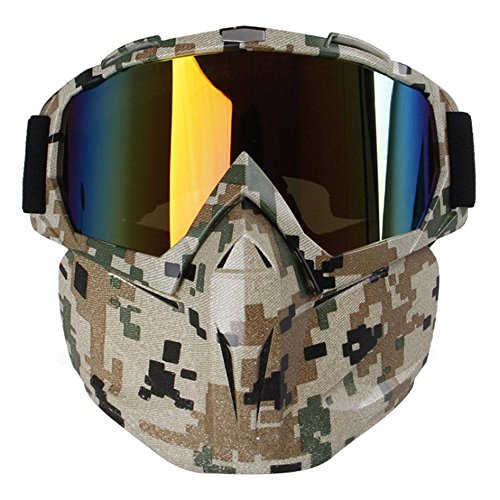 Paintball Goggles Camo (KOBWA Motorcycle Goggles Mask, Windproof Motorcycle Goggles with Mask, Protect Padding Helmet Sunglasses for Skiing, Riding, Outdoor Activities (Camouflage))