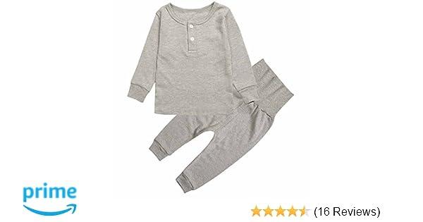 2755b692e Amazon.com  Kids Toddler Boys Girls Pajamas 2 Piece Pjs Top and ...