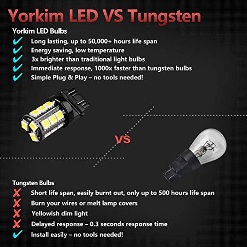 Yorkim Super Bright 3157 LED Light Bulbs White Pack of 10, 3157 LED Brake  Lights, 3157 LED Backup Reverse Lights, 3156 LED Reverse Tail Lights, Turn