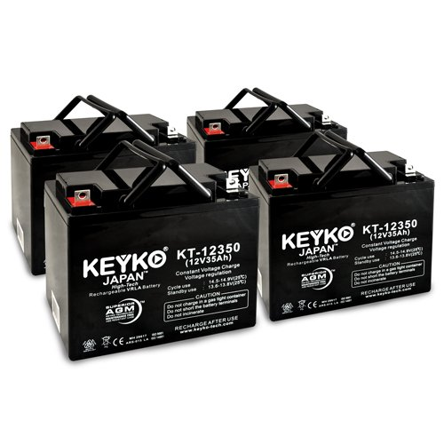 AAA Robo Chair Seguay 3000 12V 35Ah SLA Sealed Lead Acid AGM Rechargeable Replacement Battery Genuine KEYKO (W/ L2 Nut & Bolt Terminal) - 4 Pack by KEYKO