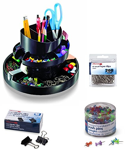 Desk Set Binder - Officemate Deluxe Rotary Organizer, 16 Compartments, Recycled, Black (26255); PushPins Translucent Colors, 200 Count; #3 Size Paper Clips 200 Pcs and Mini Binder Clips, 12 Pcs