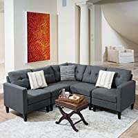 Emma Mid Century Modern 5 Piece Dark Grey Fabric Sectional Sofa
