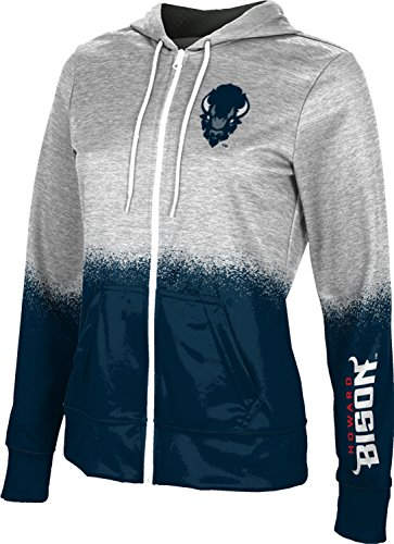 Howard University Women's Zipper Hoodie, School Spirit Sweatshirt (Spray Over) FEBB White and Blue