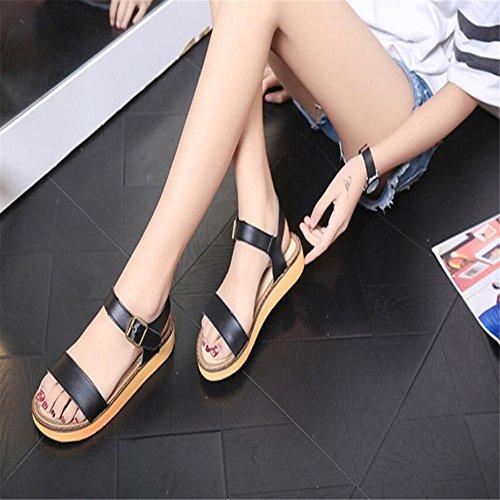 Sandalias planas Mujer Zapatos de hebilla de correa inferior Negro