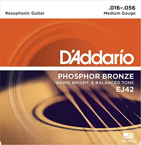 (D'Addario EJ42x5 (5 sets) Acoustic Guitar Strings, Phos/Brnz Rnd Wnd, Resophonic Guitar (.016-.056))