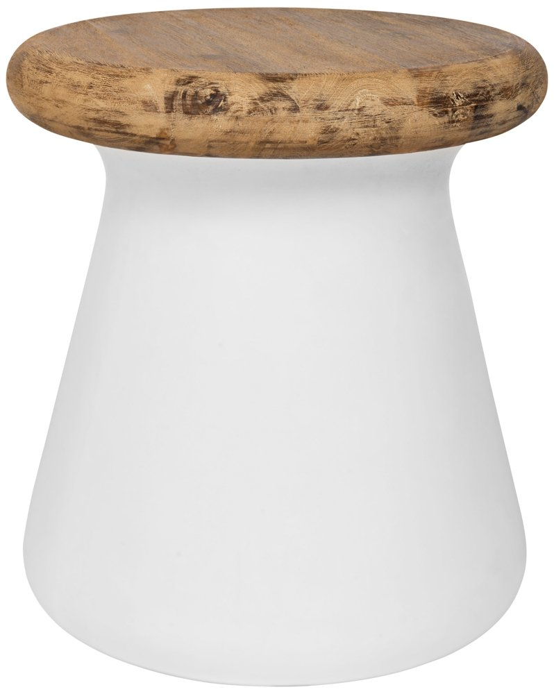 Safavieh Outdoor Collection Button Modern Concrete Ivory Round 18.1-inch Accent Table