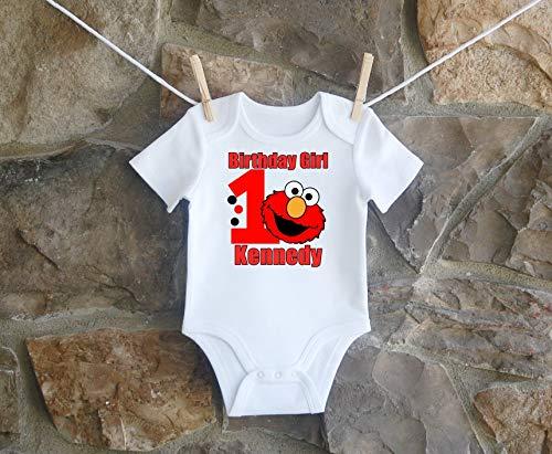 (Elmo Birthday Shirt, Elmo Birthday Shirt For Girls, Personalized Girls Sesame Street Elmo Birthday Shirt, Customized Elmo Birthday)