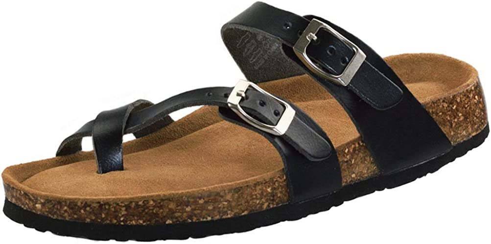 VLLY Cork Sandals for Women Casual Adjustable Strap Buckle Open Toe Slippers Suede Footbed