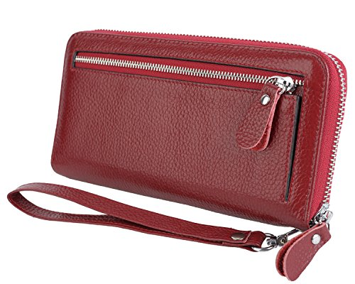 YALUXE Women's Leather RFID Security Zipper Wallet with Wristlet Strap for Card Passport Phone Red by YALUXE