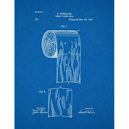 Blueprint art amazon toilet paper roll patent print art poster blueprint 85 x 11 malvernweather Image collections